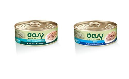 Oasy Wet Cat 150 gr x 30 pz Tonno (15pz) Tonno e Gamberi (15pz) filetti Cibo Alimento Umido Gatto