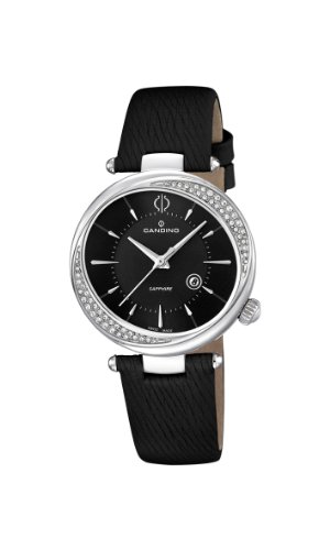 Candino Women's Quartz Watch with Black Dial Analogue Display and Black Leather Strap C4532/3