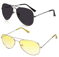 Magjons Combo of Black & Yellow Aviator Sunglasses Set Of 2 (With Box)