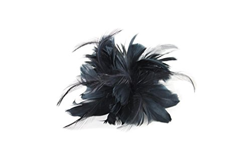 First Love Feather Fascinator Hair Clip Hat Pin Accessory for Adults Women Teens Girls (Black)