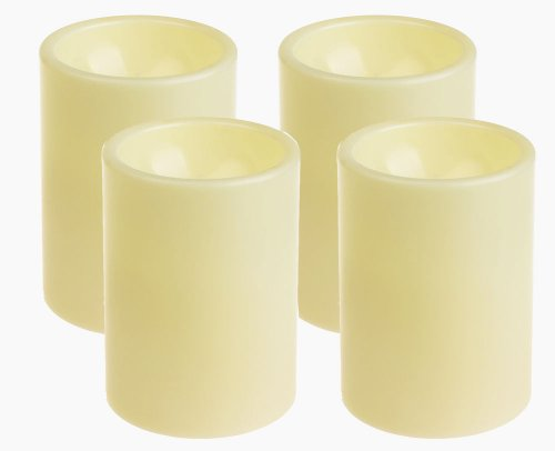 Dfl 3X4 Inch Flameless Plastic Pillar Led Candle With Timer,Battery Operate,Ivory,Pack Of 4