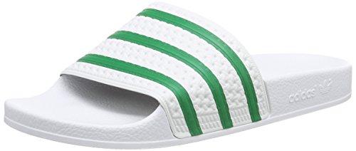 adidas OriginalsAdilette - Scarpe da Spiaggia e Piscina Uomo, Bianco (Weiß (Ftwr White/Green/Ftwr White)), 39