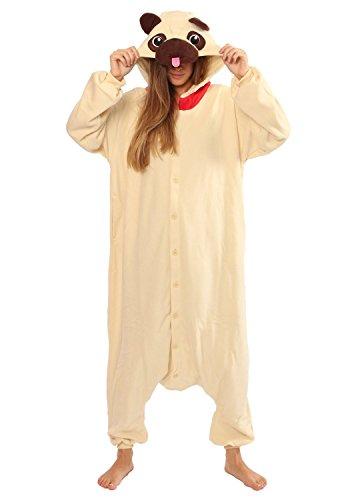 Genuine Adult Kigurumi Pug Dog Costume Pajamas front-614488
