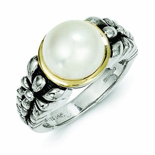 Sterling Silver with 14k Gold 9.5-10mm Freshwater Cultured Pearl Ring - (Size 7)