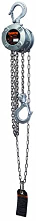 "Harrington CX003 Mini Hand Chain Hoist, Hook Mount, 1/4 Ton Capacity, 10' Lift, 8.5"" Headroom, 0.8"" Hook Opening"
