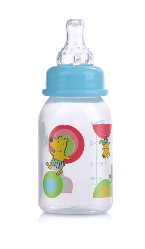 Nuby 3 Pack Clear Printed Bottle, 4 Ounce, Colors May Vary (Discontinued by Manufacturer)