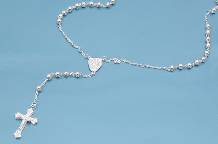Sterling Silver Rosary Necklace with 3mm Beads - 30'' Necklace Length
