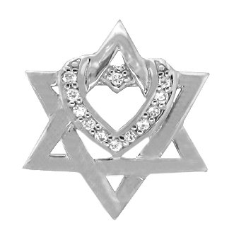 Star Of David With Heart Sterling Silver Cubic Zirconia Pendant