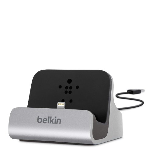 Belkin Charge And Sync Dock With Lightning Cable Connector For Iphone 5 / 5S / 5C And Ipod Touch 5Th Generation (Silver)