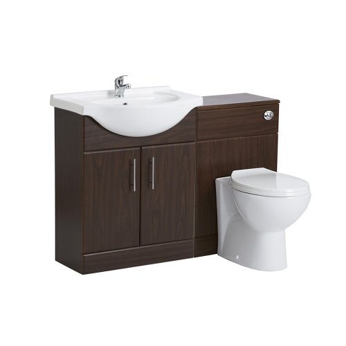 650mm Ebony Dark Brown Bathroom Vanity Furniture Storage Unit One Tap Hole Basin Sink and WC Toilet Set