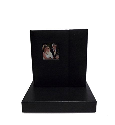 Wedding Story CD/DVD Case (Bulk of 10), Black leatherette, Overlapping, Holds 2 Disc/1 photo