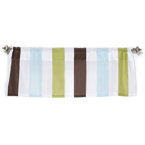 One Grace Place Puppy Pal Boy Valance, Powder Blue, Sage Green, Chocolate and White - 1