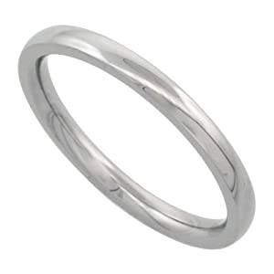 Surgical Steel 2mm Domed Wedding Band Thumb / Toe Ring Comfort-Fit High Polish, size 6
