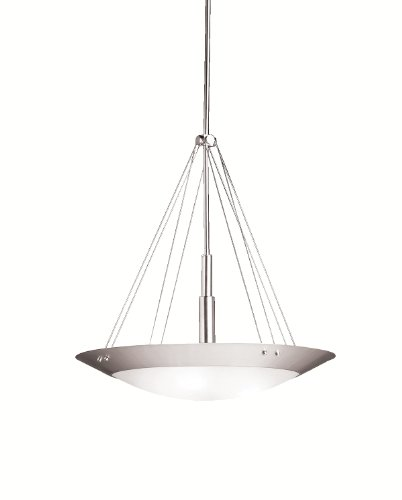 B000P6DL2S Kichler Lighting 3244NI Structures 3-Light Inverted Pendant, Brushed Nickel with Satin-Etched Glass