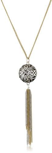 Lucky Brand Silver-Tone Openwork Tassel Necklace