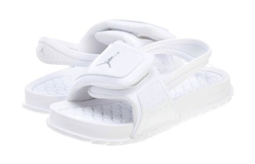 Jordan Nike Toddlers Hydro 2 Sandals Slides-White/Metallic Silver-5