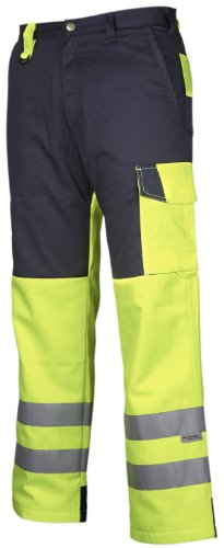 Projob Winter Lined Hi Vis Kneepad Trousers Class 2 6508 Navy/Hi Vis Yellow XX-Large