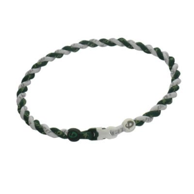 Phiten Custom Titanium Forest Green and White Tornado Necklace with Standard Trim and Standard Clasp 16