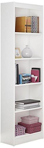 South Shore Jazz 5-Tier Open Narrow Bookcase, 72-Inch, White