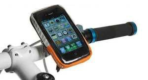 NEW BIKE CYCLE MOBILE SMART PHONE HOLDER HANDLEBAR POUCH CASE IPHONE GALAXY ETC (ORANGE/SILVER) bike case