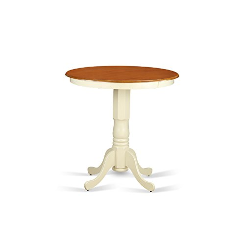 East West Furniture EDT-WHI-TP Eden Round Counter Height Table, Linen White Finish (36 High Table compare prices)