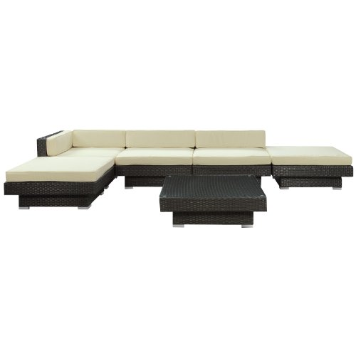 LexMod Laguna Outdoor Wicker Patio 6 Piece Sectional Sofa Set In Espresso with White Cushions picture