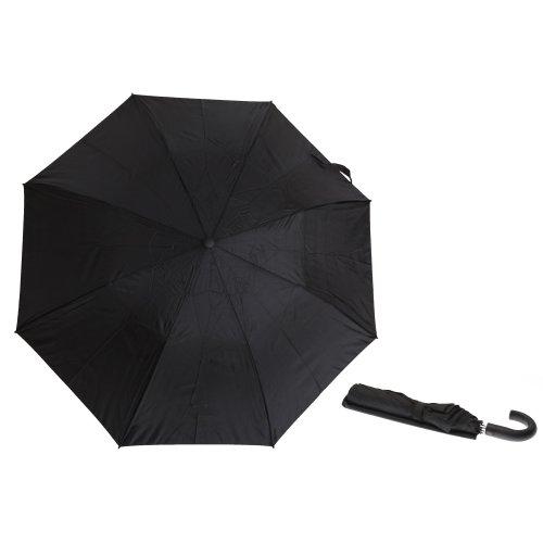 Unisex Plain Black Small/Mini Automatic Umbrella