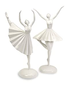 "16-17""h Tall White Female Ballerina Balle Dancers Sculpture Statue - Set of 2"