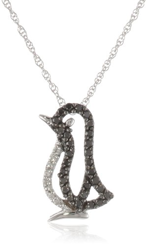 XPY 14k White Gold Black and White Diamond Penguin Pendant (1/6 cttw), 18""