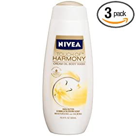 Nivea Touch Of Harmony Cream Oil Body Wash, Shea Butter & Vanilla Blossom Scent, 16.9-Ounce Bottles (Pack of 3)