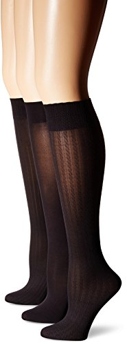 HUE Womens Cable/Rib/Opaque Knee High…