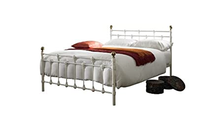 Oxford Kingsize (5ft) metal bed frame - Cream(off White)/Gold