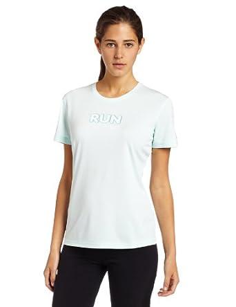 Brooks Women's EZ Run Short Sleeve Shirt,Heather Blue Ice,X-Small
