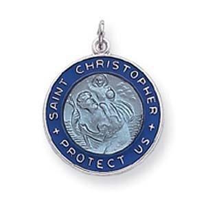 PriceRock Sterling Silver Enameled St. Christopher Medal