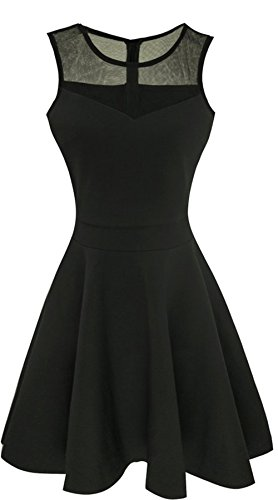 HARHAY Women's Lace A-Line Sleeveless Cocktail Evening Party Dress Black S
