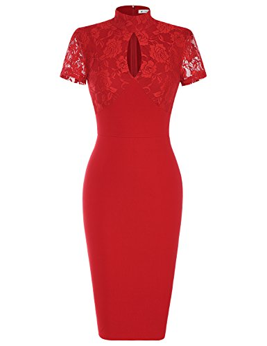 MUXXN Women's 1940's Vintage Floral Lace Keyhole Bodycon Hot Pencil Dress(S,Red)
