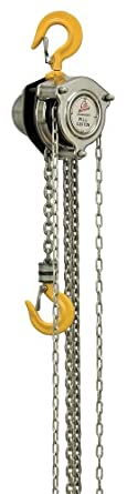 "OZ Lifting Mechanical Hand Chain Hoist, Hook Mount, 1/4 Ton Capacity, 10' Lift, 8-31/32"" Headroom, 11/16"" Hook Opening"