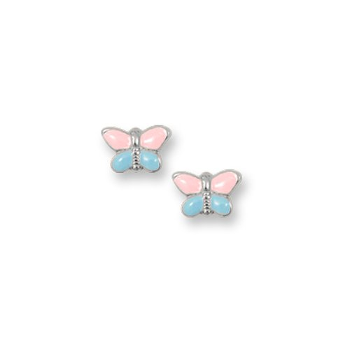Sterling Silver Children's Pink and Blue Butterfly Earrings