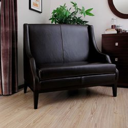 Ikcco Dark Brown Leather High-back Loveseat, Add a contemporary accent to your decor with this brown high-back loveseat. Featuring a sophisticated style that is sure to stand out, this leather seat has a wooden frame that enhances its durability and top-g