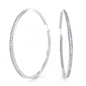 Bling Jewelry Sterling Silver Channel Set Round CZ Large Hoop Earrings 2.5in