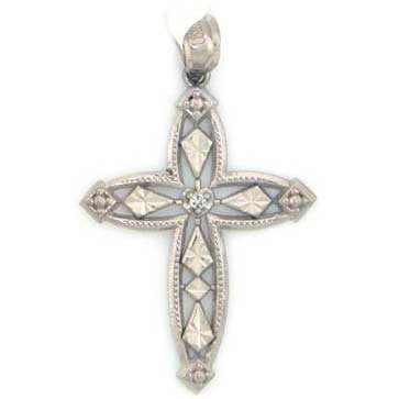 14k Solid White Gold Natural Real Diamond Cross Pendant