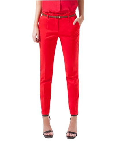 HaboZoo Womens Side Pockets Slim Capri Trousers Pants S M L XL (Size S, red)