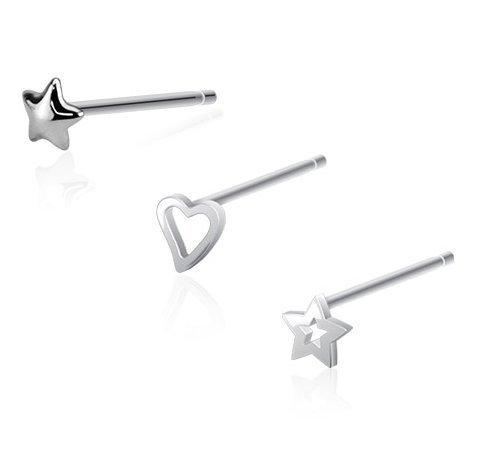 Katy Craig - Confezione speciale di 3 piercing da naso con astina pieghevole (calibro 20), a forma di stella e cuore, in vero argento sterling 925, forniti in un sacchetto regalo