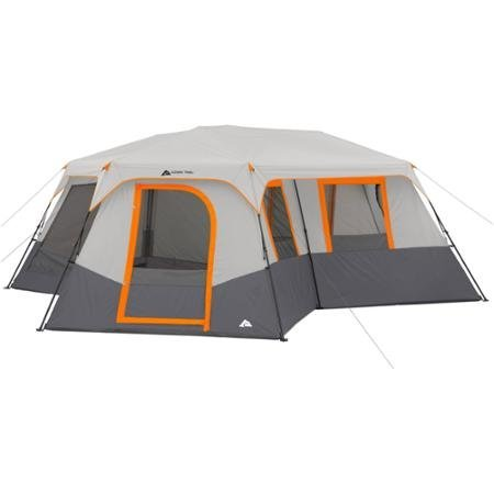 Ozark trail 12 person 3 room instant cabin tent with for Small 2 room tent