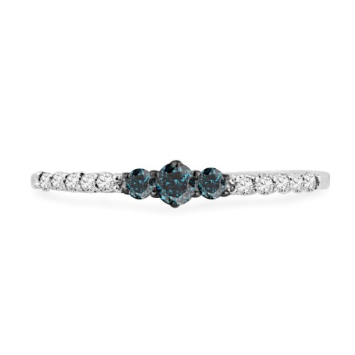 10KT White Gold Blue And White Round Diamond Promise Ring (1/5 cttw)