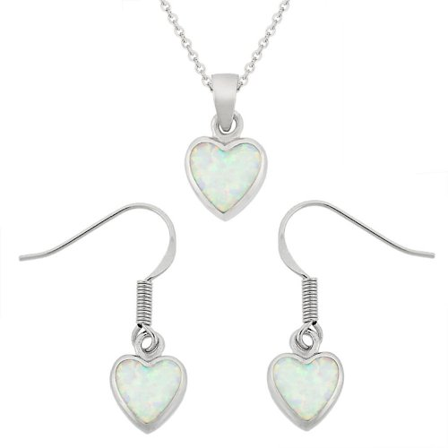 Sterling Silver Created-White Opal Inlay Heart Drop Pendant Necklace and Earrings Set
