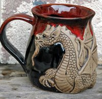 Winged Dragon 14 ounce Mug Red and Black
