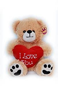 "15"" (38cm) Golden Brown Teddy Bear Holding a Red heart with ""I Love You"" inscribed on it"