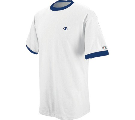 Champion Cotton Jersey Men's Ringer T Shirt (L, White/Navy)