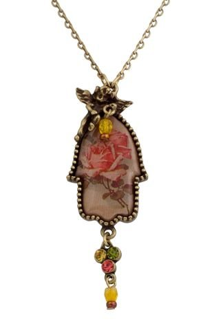 Michal Negrin Hamsa Pendant with Angel Embelishment, Flower Print, Green, Yellow and Pink Swarovski Crystals - Hand-Made in Israel, Very Feminine